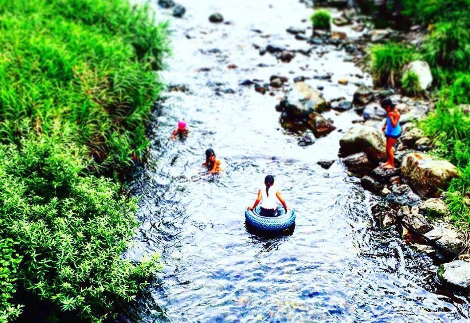 高梁川小川で遊ぶ子供